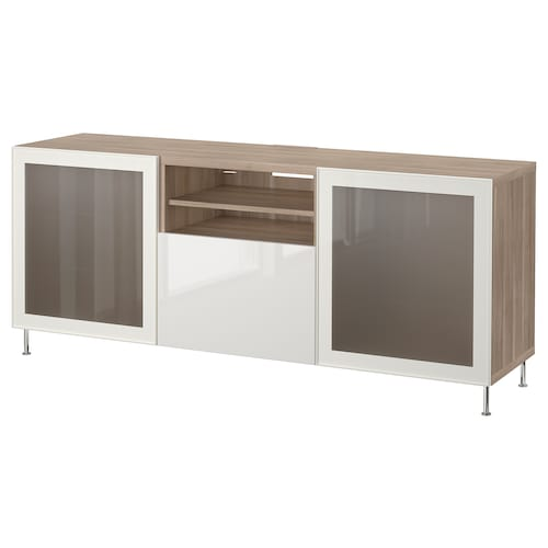 BESTÅ TV bench with drawers grey stained walnut effect/Selsviken/Stallarp high-gloss/white frosted glass 180 cm 42 cm 74 cm 50 kg