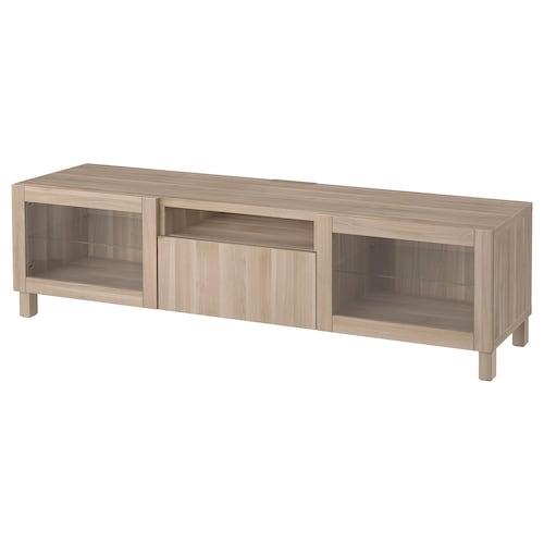 BESTÅ TV bench grey stained walnut effect/Lappviken/Stubbarp grey stained walnut eff clear glass 180 cm 42 cm 48 cm 50 kg