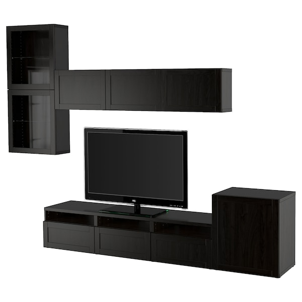 BESTÅ TV storage combination/glass doors black-brown/Hanviken black-brown clear glass 300 cm 211 cm 42 cm