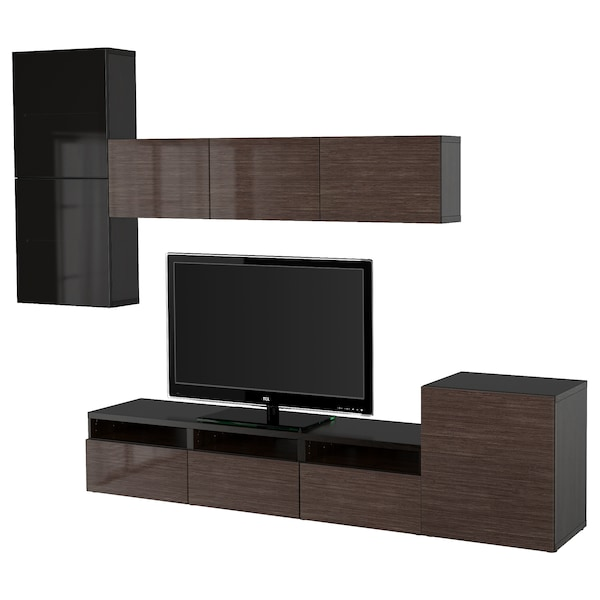 BESTÅ TV storage combination/glass doors black-brown/Selsviken high-gloss/brown smoked glass 300 cm 211 cm 42 cm