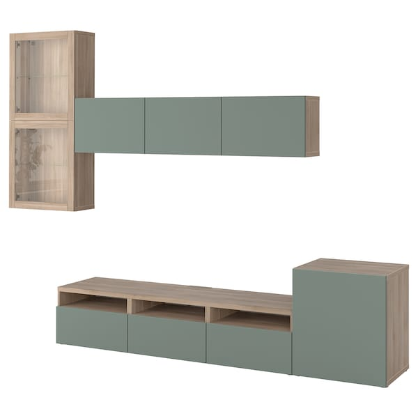 BESTÅ TV storage combination/glass doors grey stained walnut effect/Notviken grey-green clear glass 300 cm 211 cm 42 cm