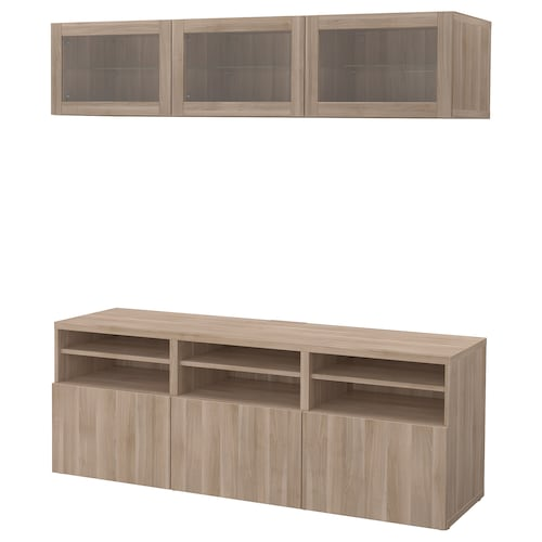BESTÅ TV storage combination/glass doors Lappviken/Sindvik grey stained walnut eff clear glass 180 cm 40 cm 192 cm