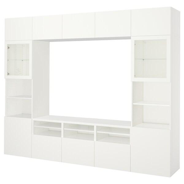 BESTÅ TV storage combination/glass doors, Lappviken/Sindvik white clear glass, 300x40x230 cm