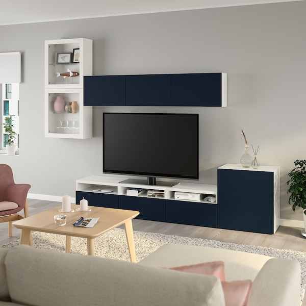 BESTÅ TV storage combination/glass doors white/Notviken blue clear glass 300 cm 211 cm 42 cm