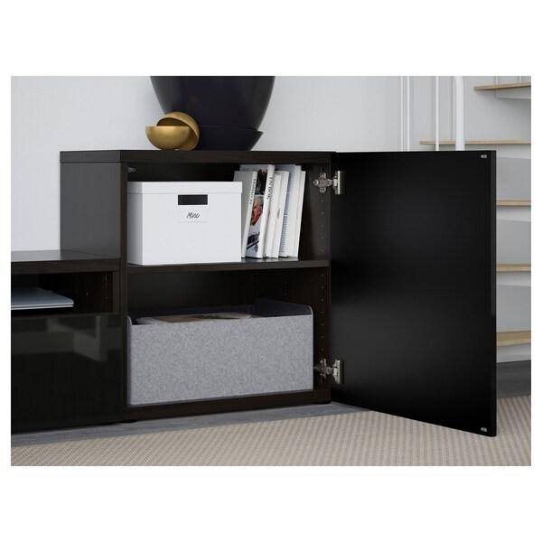 BESTÅ TV storage combination/glass doors black-brown/Selsviken high-gloss/black smoked glass 300 cm 211 cm 42 cm
