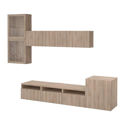 Bestå Tv Storage Combinationglass Doors Lappvikensindvik Grey