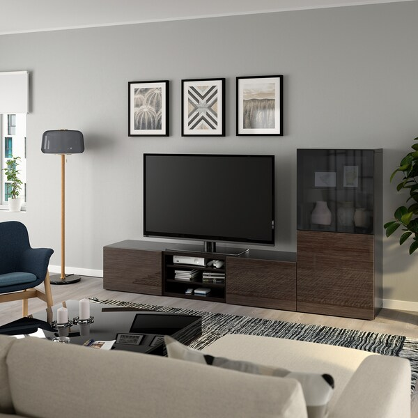 BESTÅ TV storage combination/glass doors black-brown/Selsviken high-gloss/brown smoked glass 240 cm 42 cm 129 cm