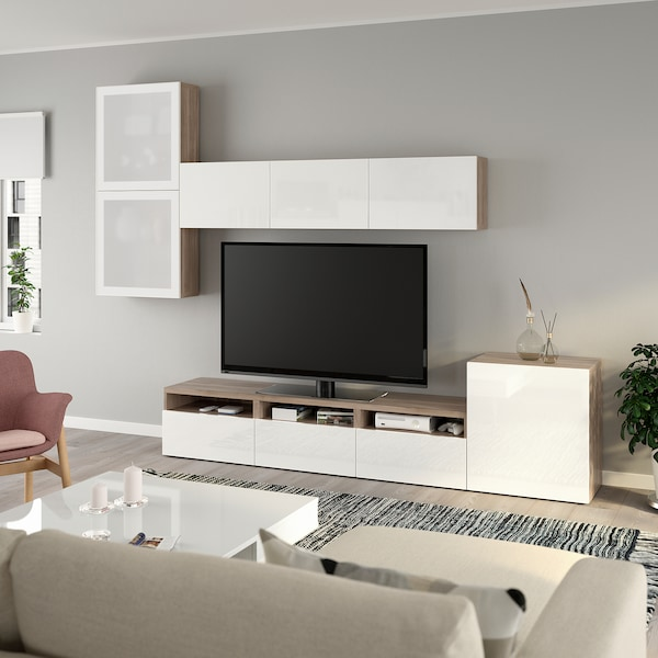 BESTÅ TV storage combination/glass doors grey stained walnut effect/Selsviken high-gloss/white frosted glass 300 cm 211 cm 42 cm