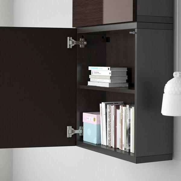 BESTÅ Wall cabinet with 2 doors, black-brown/Selsviken high-gloss/brown, 60x22x128 cm