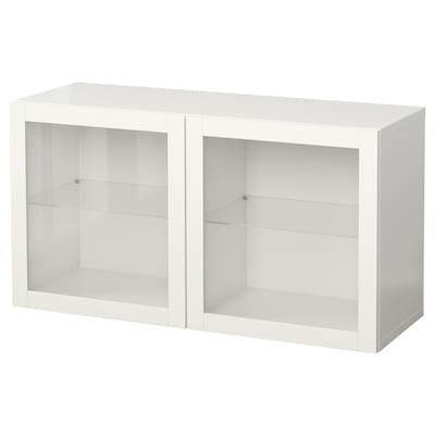BESTÅ Wall-mounted cabinet combination, white/Sindvik clear glass, 120x42x64 cm