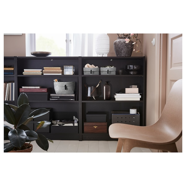 BILLY Bookcase, black-brown, 240x28x106 cm