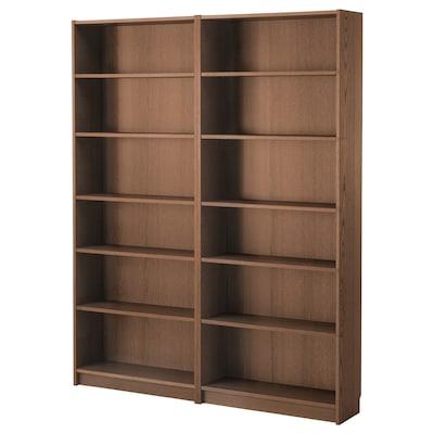 BILLY Bookcase, brown ash veneer, 160x28x202 cm