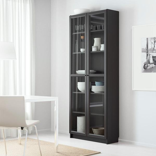 BILLY / OXBERG Bookcase, black-brown, 80x30x202 cm