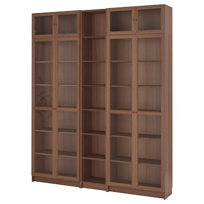 BILLY / OXBERG Bookcase, brown ash veneer, 200x30x237 cm