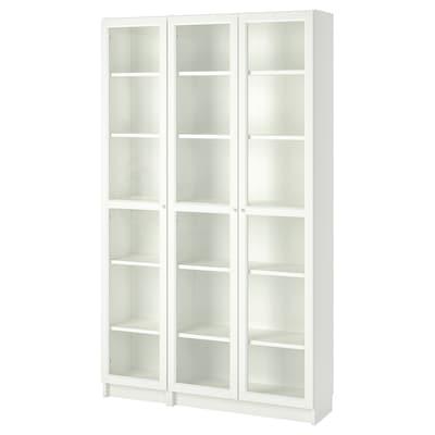 BILLY / OXBERG مكتبة بأبواب زجاجية, أبيض, 120x30x202 سم