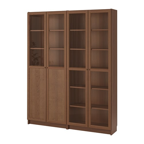 BILLY / OXBERG Bookcase with panel/glass doors, brown ash veneer, glass