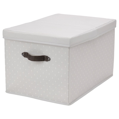 BLÄDDRARE Box with lid, grey/patterned, 35x50x30 cm