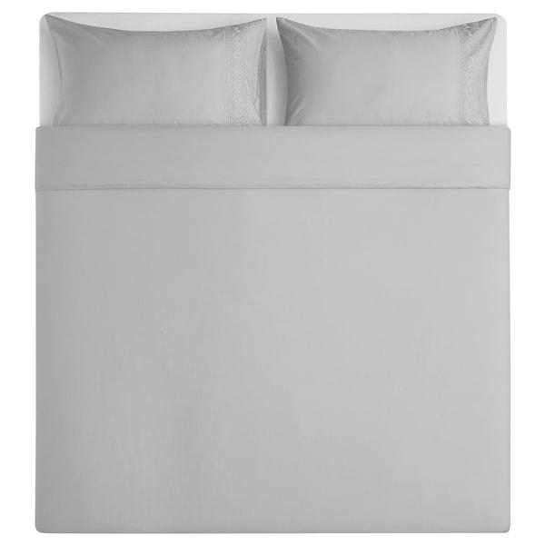 BLÅFIBBLA Quilt cover and 2 pillowcases, light grey, 240x220/50x80 cm