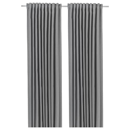 BLÅHUVA room darkening curtains, 1 pair light grey 300 cm 145 cm 3.19 kg 4.35 m² 2 pack