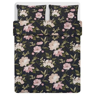 BLEKFRYLE Duvet cover and 2 pillowcases, black/flower, 240x220/50x80 cm