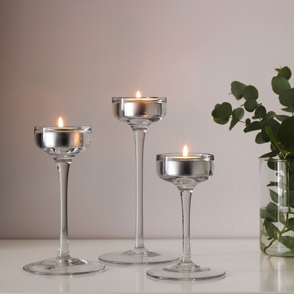 BLOMSTER candle holder, set of 3 clear glass