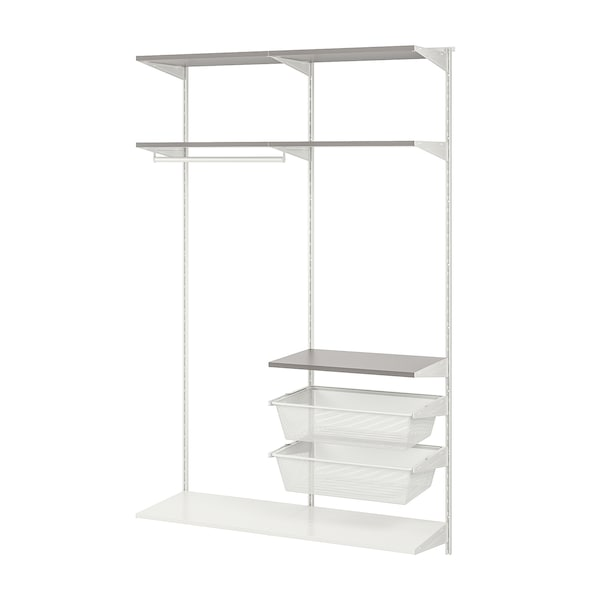 BOAXEL 2 sections, white/grey, 125x40x201 cm