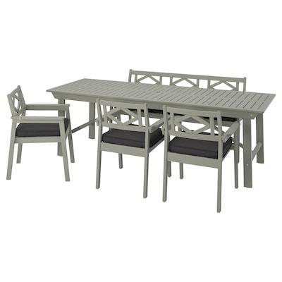 BONDHOLMEN طاولة+3كراسي مع كرسي+مصطبة،خارجية, صباغ رمادي/Järpön/Duvholmen فحمي