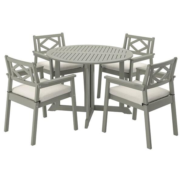 BONDHOLMEN Table+4 chairs w armrests, outdoor, grey stained/Frösön/Duvholmen beige