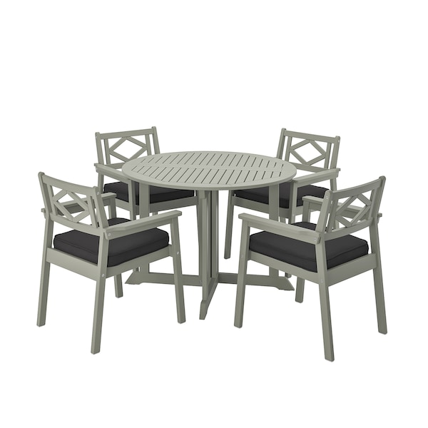 BONDHOLMEN Table+4 chairs w armrests, outdoor, grey stained/Järpön/Duvholmen anthracite
