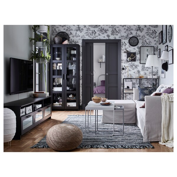 BRIMNES خزانة بباب زجاج, أسود, 80x190 سم