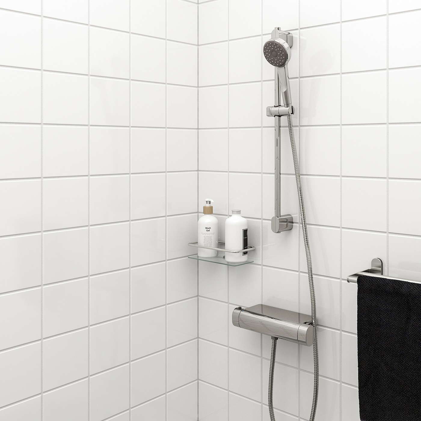 BROGRUND Riser rail with handshower kit, chrome-plated