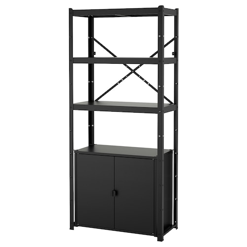 BROR shelving unit with cabinet black 85 cm 40 cm 190 cm