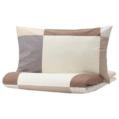 BRUNKRISSLA غطاء لحاف و غطاء مخدة, بني, 150x200/50x80 سم