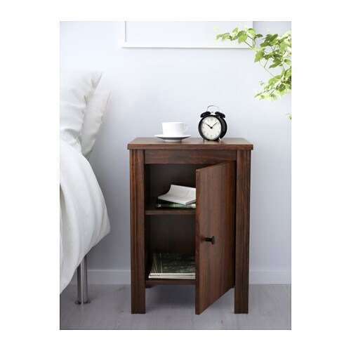 BRUSALI Bedside table   The door can be hung with the opening to the right or the left.