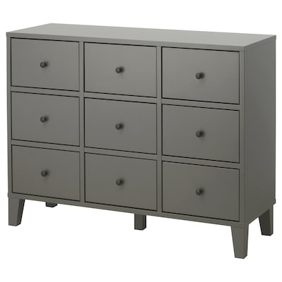 BRYGGJA Chest of 9 drawers, dark grey, 118x92 cm