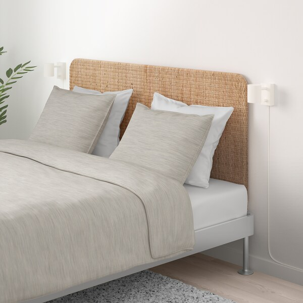 DELAKTIG Bed frame with headboard, aluminium/rattan, 160x200 cm