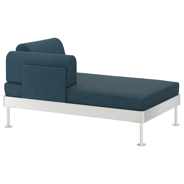 DELAKTIG Chaise longue with armrest, Hillared dark blue