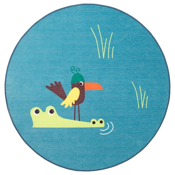 DJUNGELSKOG rug, flatwoven bird/blue 100 cm 0.79 m²