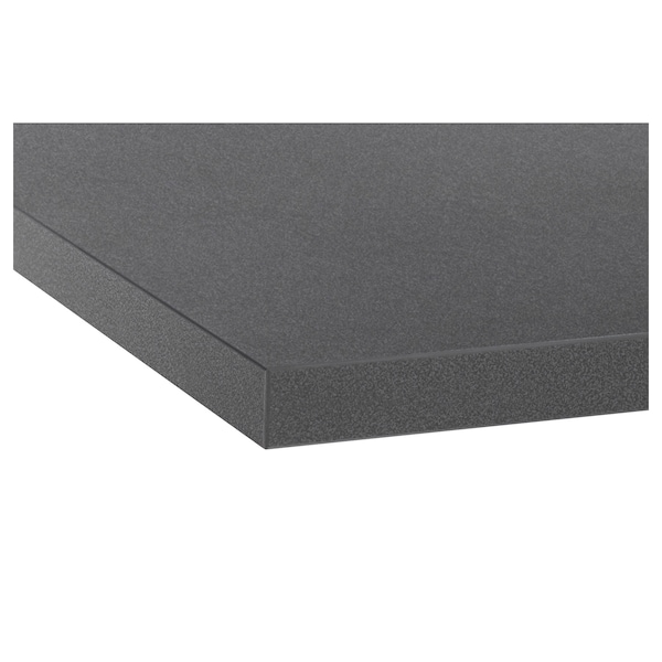EKBACKEN Worktop, black stone effect/laminate, 246x2.8 cm