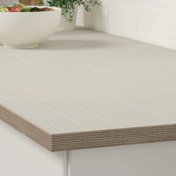 EKBACKEN Worktop, matt beige/patterned laminate, 246x2.8 cm