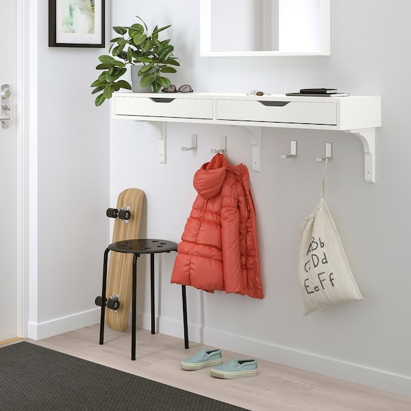 EKBY ALEX Shelf with drawers, white, 119x29 cm