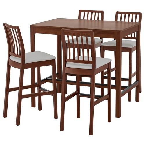 EKEDALEN / EKEDALEN bar table and 4 bar stools brown/Orrsta light grey 120 cm