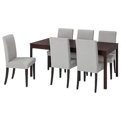 EKEDALEN / HENRIKSDAL Table and 6 chairs, dark brown/Orrsta light grey, 180/240 cm