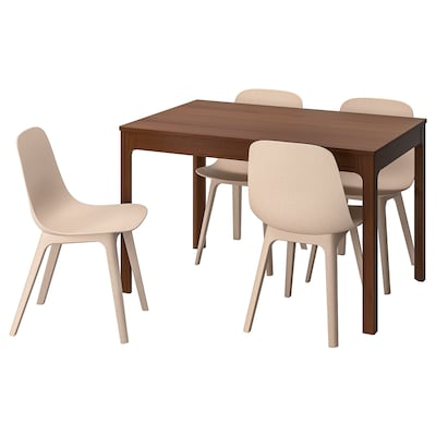 EKEDALEN / ODGER Table and 4 chairs, brown/white beige, 120/180 cm