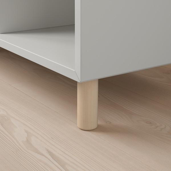 EKET تشكيلة خزانات بأرجل, رمادي فاتح/خشب, 140x35x80 سم