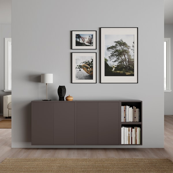 EKET تشكيلة خزانة حائطية, رمادي غامق, 175x25x70 سم