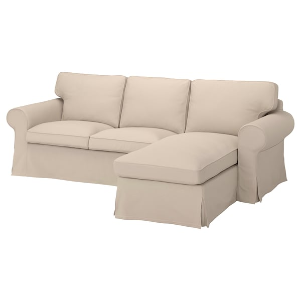 EKTORP Cover for 3-seat sofa, with chaise longue/Hallarp beige