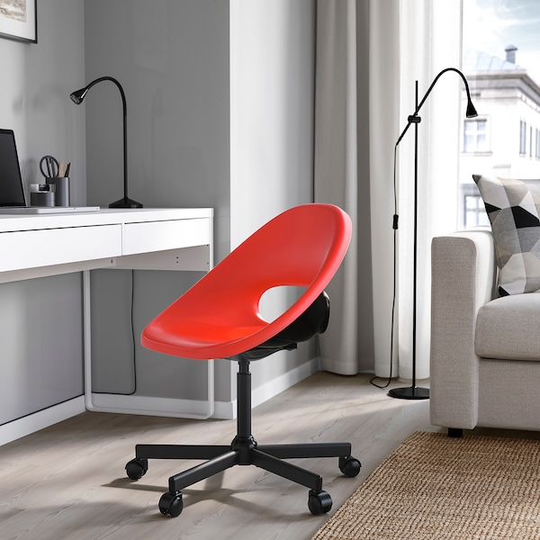 ELDBERGET / MALSKÄR Swivel chair, red/black