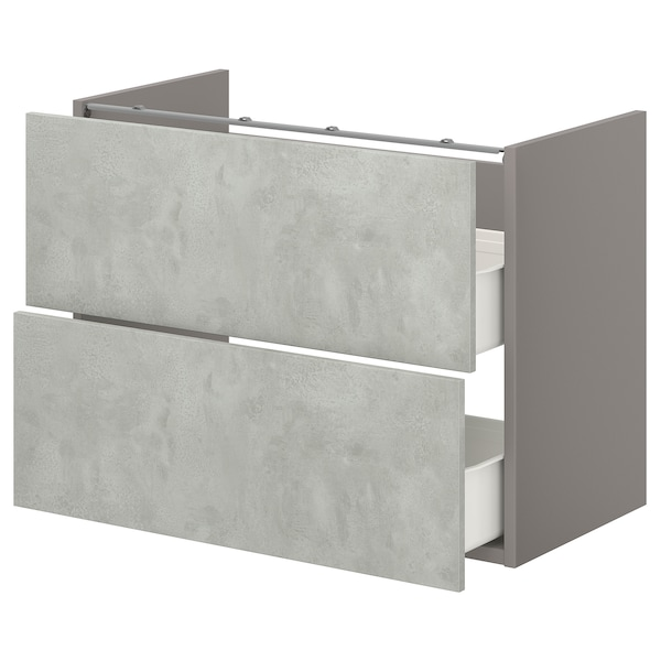 ENHET Base cb f washbasin w 2 drawers, grey/concrete effect, 80x40x60 cm