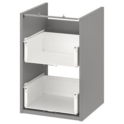 ENHET خزانة قاعدة لحوض مع درجين, رمادي, 40x40x60 سم